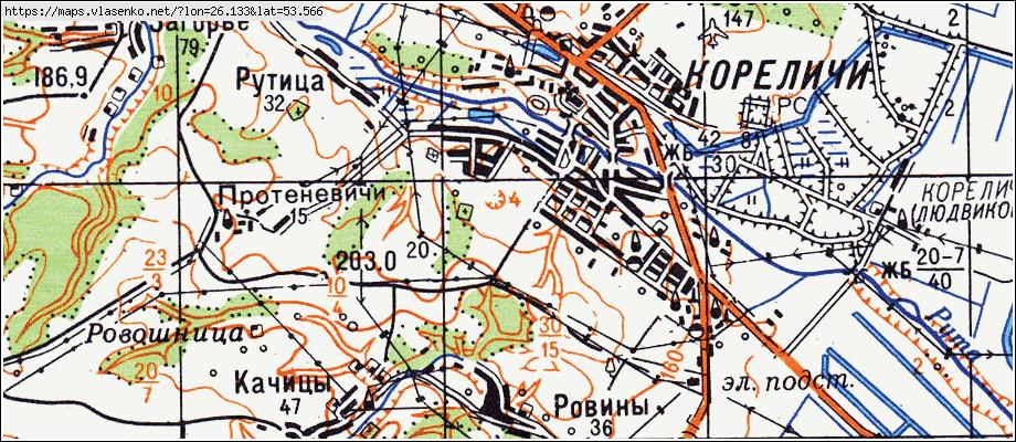 Карта Кореличского Района Гродненской Области