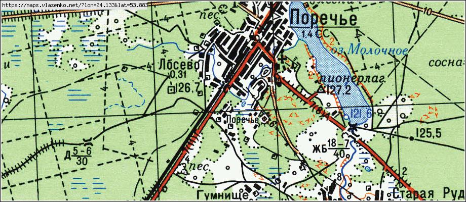 Карта ПОРЕЧЬЕ, Гродненская область, Слонимский район: http://maps.vlasenko.net/by/grodnenskaya/slonimskij/poreche/