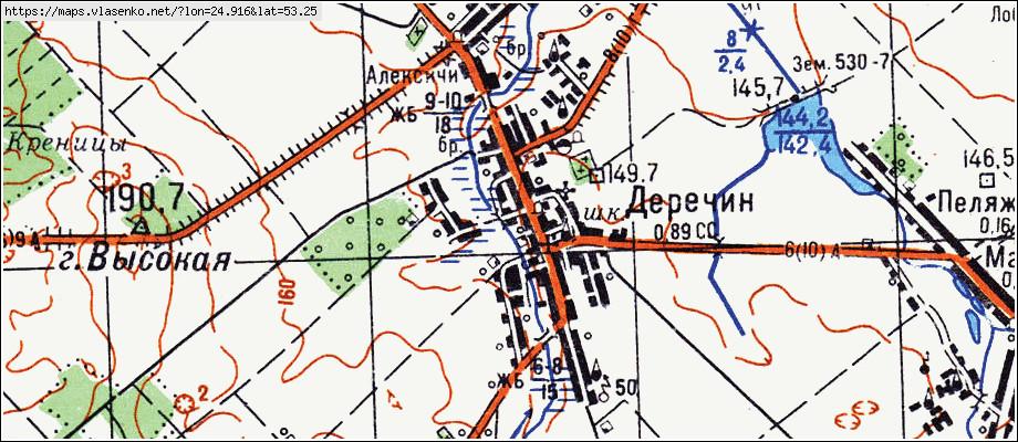 Карта ДЕРЕЧИН, Гродненская область, Зельвенский район: http://maps.vlasenko.net/by/grodnenskaya/zelvenskij/derechin/