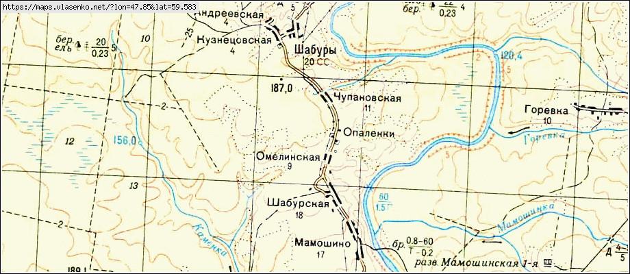 Карта ШАБУРЫ, Кировская область, Опаринский район