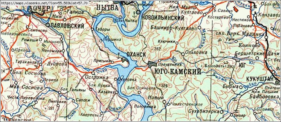 Топографическая карта юго-камский, пермский край область, пермский район