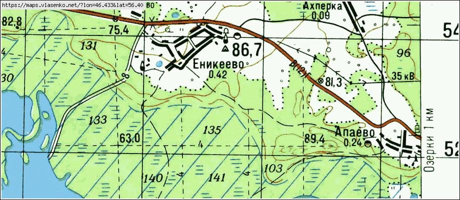Карта еникеево, республика марий эл область, горномарийский .