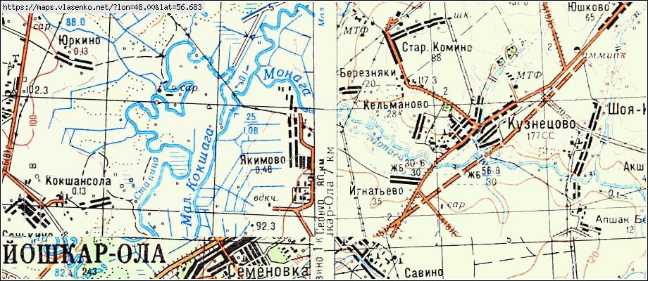 Карта Якимово, республика марий эл область, медведевский рай.