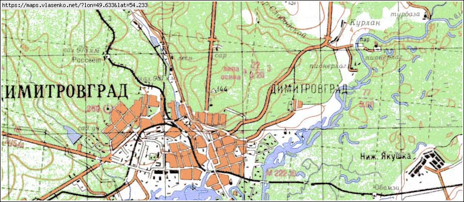 Karta Dimitrovgrad Ulyanovskaya Oblast Melekesskij Rajon