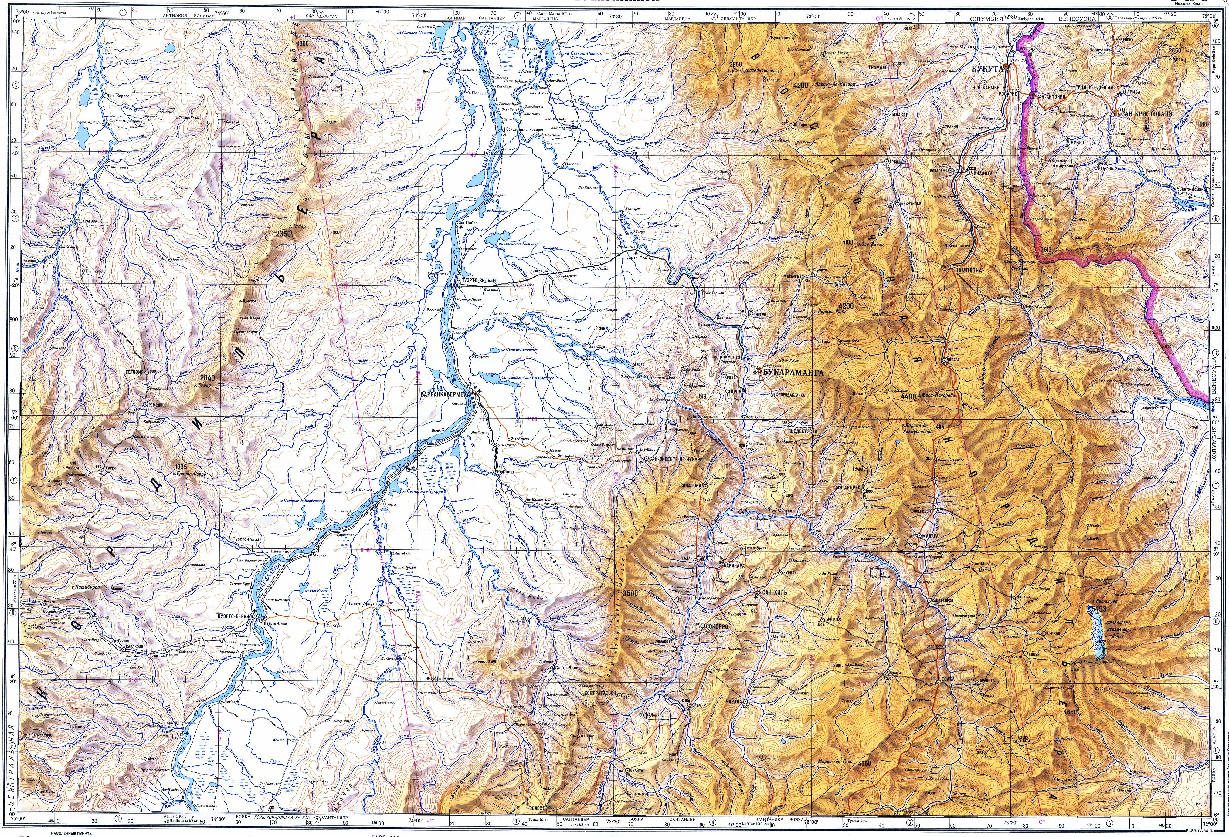 Topographic Map Of Colombia.Topograficheskie Karty Military Topographic Map