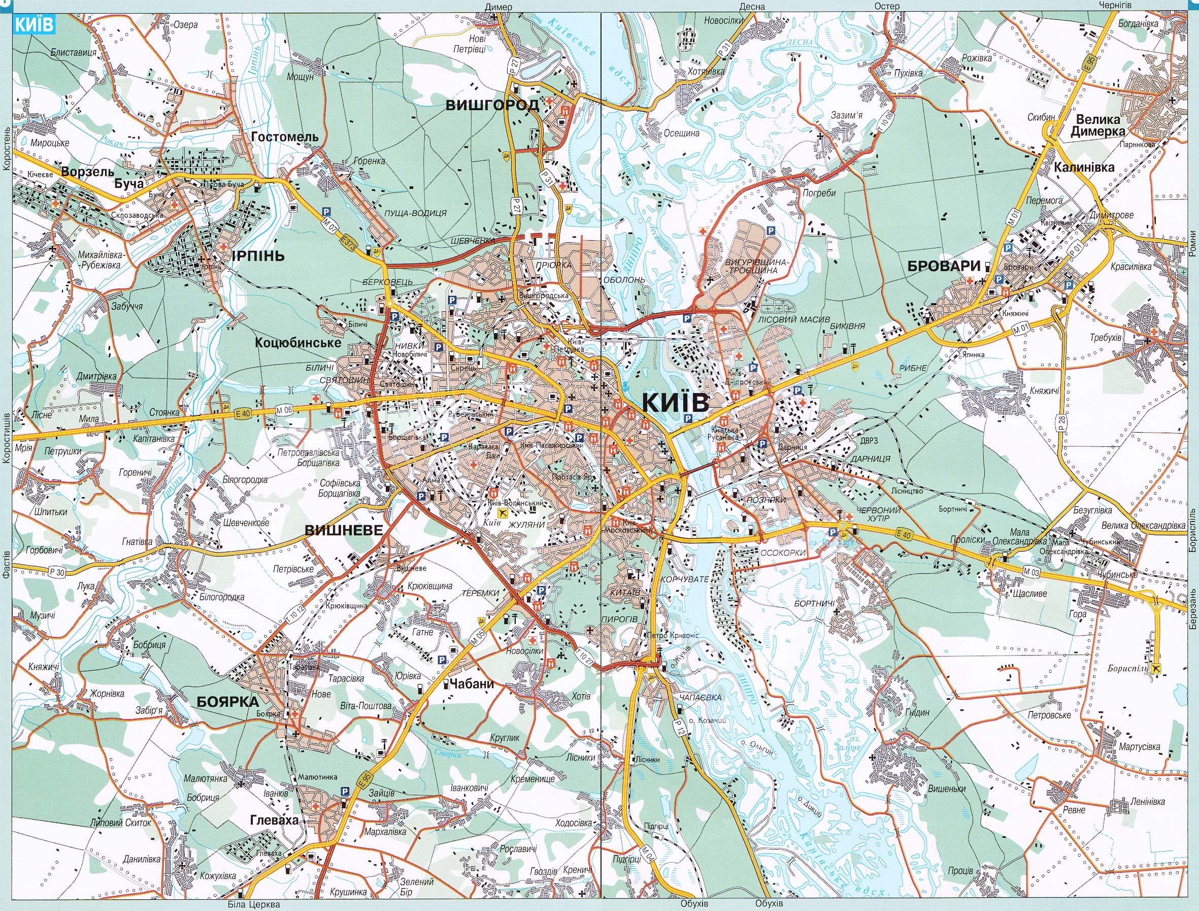 Территорию Киева увеличили на 1,4 тыс. га / Фото: Raster Maps.